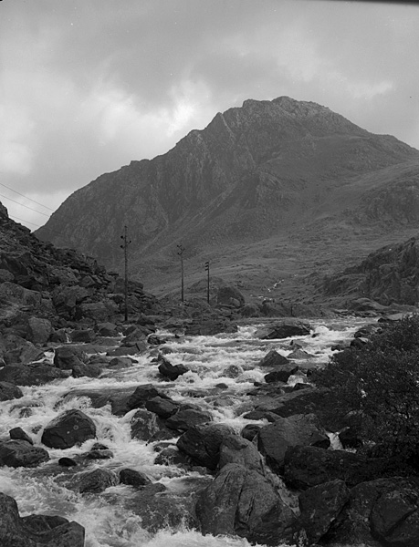 [Ogwen River in spate after the storms that ended the dry summer]