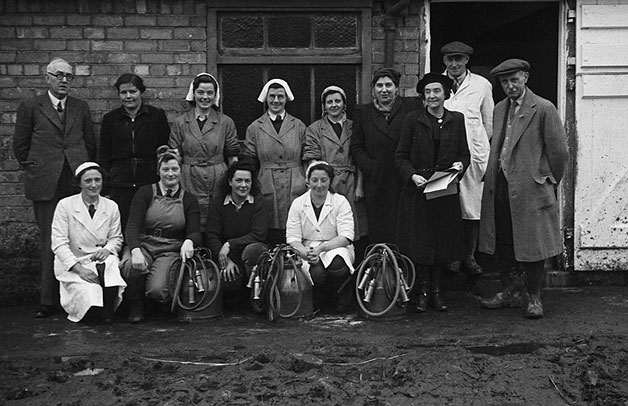 [Participants in the first WLA Milking Proficiency Tests held at Crowther Hall, Pool Quay]