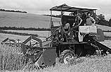 [W. R. Griffiths, Coedydinas, Welshpool, drives one of the first combine harvesters in Montgomeryshire]