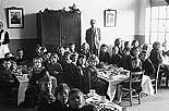 [Children of Meifod Council School at a christmas tea party]
