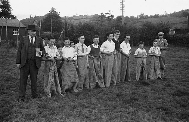 [The sack race at Abermule Youth Club sports]
