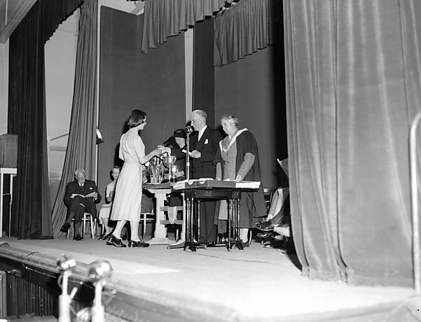 [Charles Morgan, the distinguished author, presenting the prizes at the Moreton Hall School Speech Day]