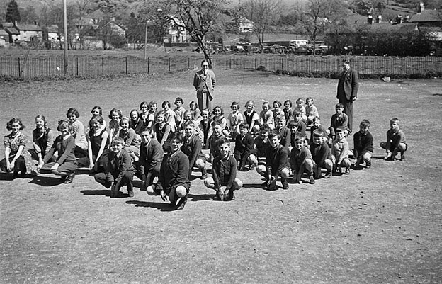 [Children at physical training in Llanfyllin church school]