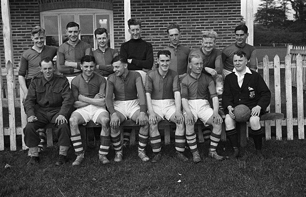 [Welshpool and army football teams, after a game at Welshpool]