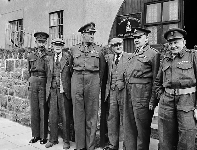 [Lt Gen Lashner G Whistler (General Officer Commanding-in-Chief of the Western Command) with local Home Guard commanders at Oswestry]