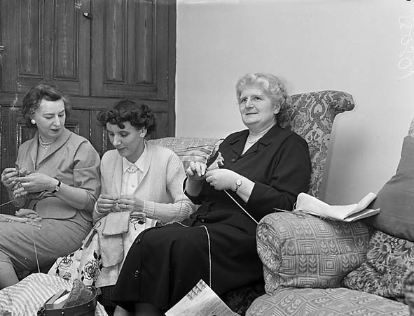 [The new vicar of Weston Rhyn, J C Walters, Mrs Walters, and parishioners preparing for a fête to raise money to renovate the Church Hall]
