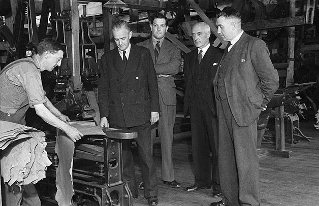 [Clement Davies MP making a visit to George F. Hamer's leather works at Llanidloes]