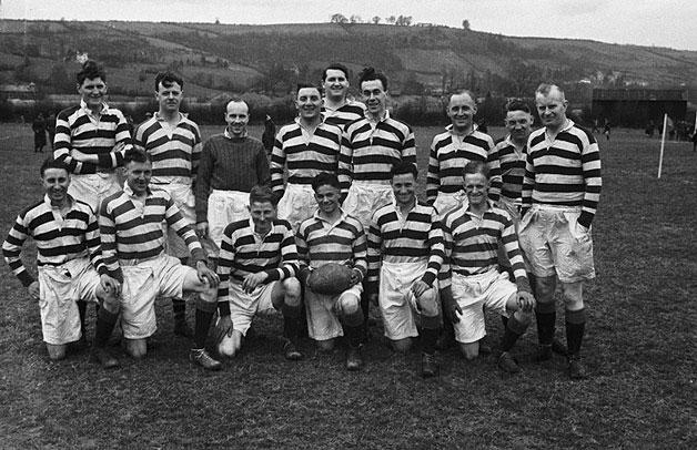 [Tywyn Army rugby team who beat Newtown, at Newtown]