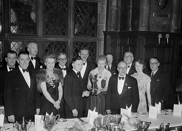 [R Browning receiving his trophy at Salop Motor Club's annual dinner]