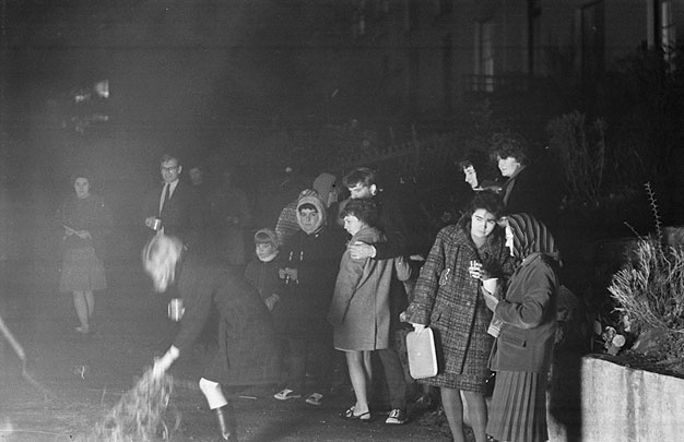 Firework night outside Geoff Charles' home at Brynteg Terrace, Bangor