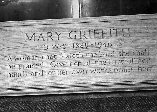 [Plaque to Mary Griffith at Dr Williams School, Dolgellau]
