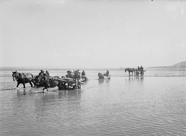 [Women collecting cockles in Pen-clawdd, Glamorgan]