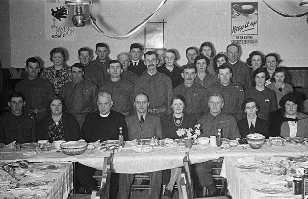[Penstrowed Home Guard at a dinner hosted by Mr and Mrs I.F. Davies, Caersws]