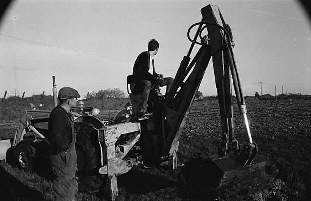 Men excavating a field