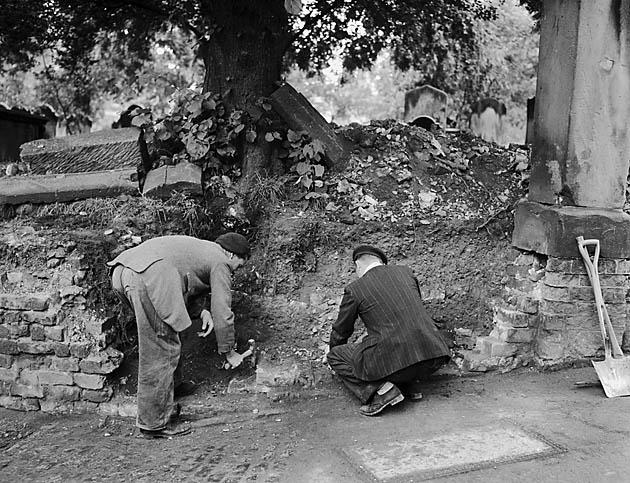 [Repair work on a wall at St. Chads, Shrewsbury]
