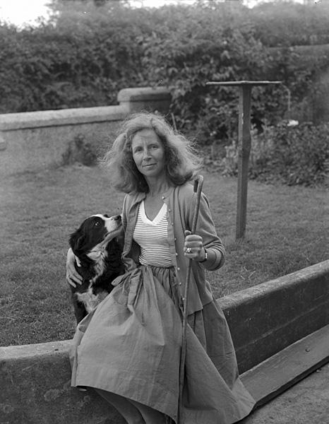 [Mrs Beryl Owen, a shepherdess from Trefor, and her dog Jess]