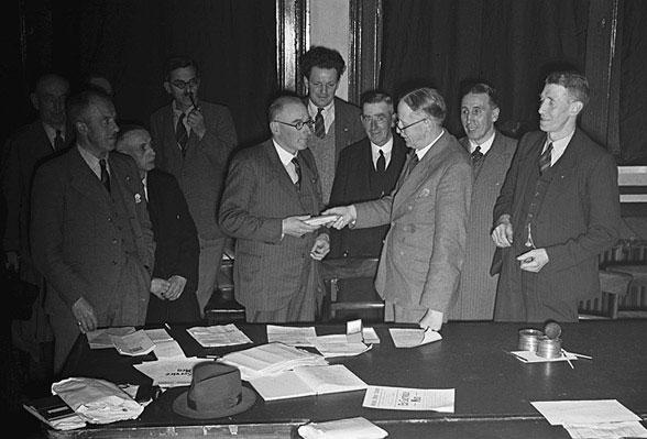 [Presentation to Harry Smith, Montgomeryshire British Legion Secretary, at Welshpool Town Hall]