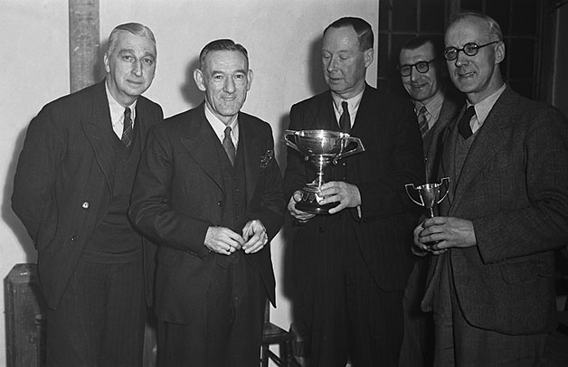 [Presentation of the British Legion Club snooker handicap trophy at Oswestry, December 1948]