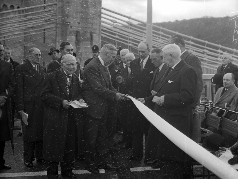 [Scenes of the opening ceremony of the new bridge over the River Conwy]