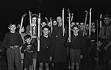 [Ellesmere Scouts and Cubs' Torchlight Procession, and Scouts bonfire at Whitchurch to celebrate Guy Fawkes night]