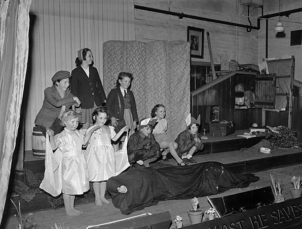 [Young Oswestry Salvation Army members presenting a play at the Citadel]