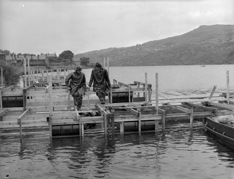 [The Army preparing Padarn Lake for the Empire Games rowing contests, 1958]