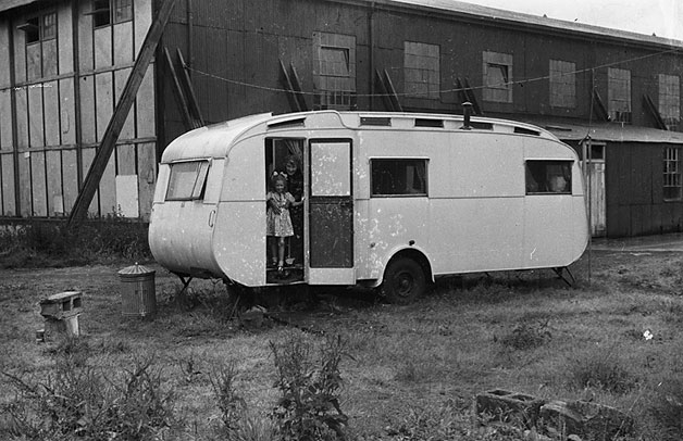 [Janet Charles with Mrs. Powell in her caravan, Newtown]