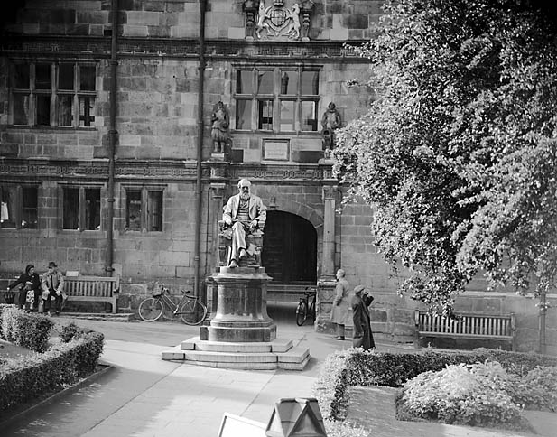 [Statue of Charles Darwin outside Shrewsbury Library]