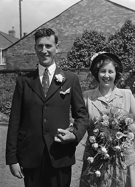 [Wedding of M Holland and H Tomley at St Martin's parish church]