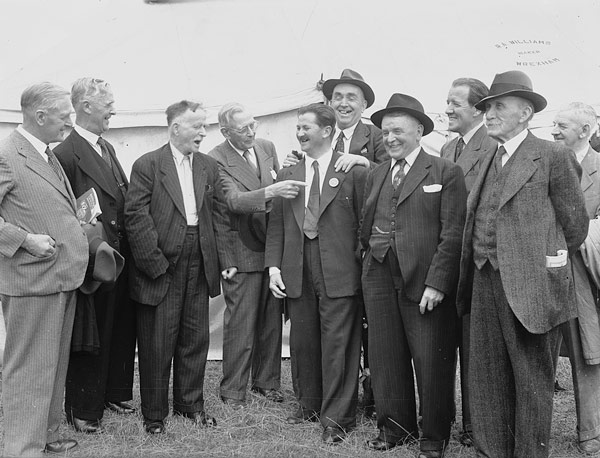 [Some of Wales' famous individuals together at Llanrwst National Eisteddfod 1951 (photograph by Robin Griffith)]
