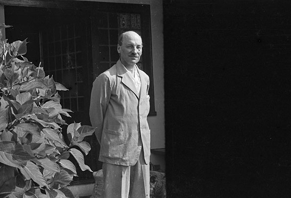 [Clement Attlee at his holiday cottage in Nefyn]