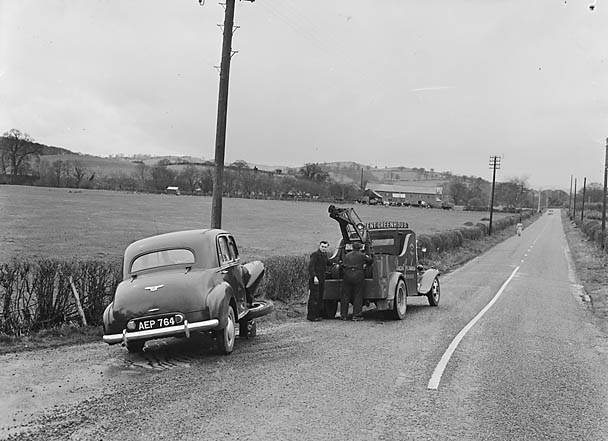 [Clement Davies's car after a collision at Meifod]