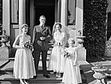 [Wedding of Glenys Hammond, Llanfyllin, and Dr J G Robertson, Middlesex, at Llanfyllin Parish Church]