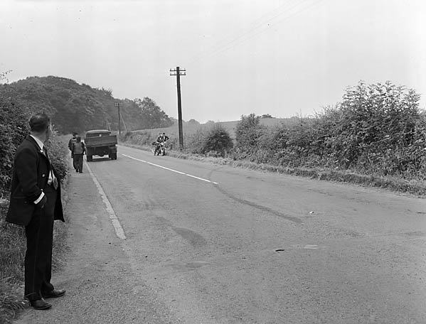 [Car-bus collision on the Oswestry to Chirk road in which one was killed and three were hurt]