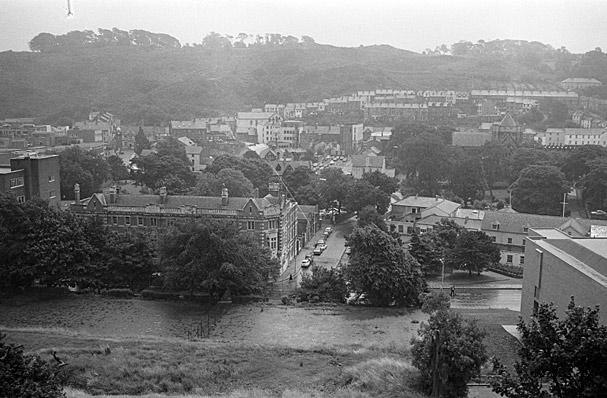 Bangor from the University, showing Theatr Gwynedd