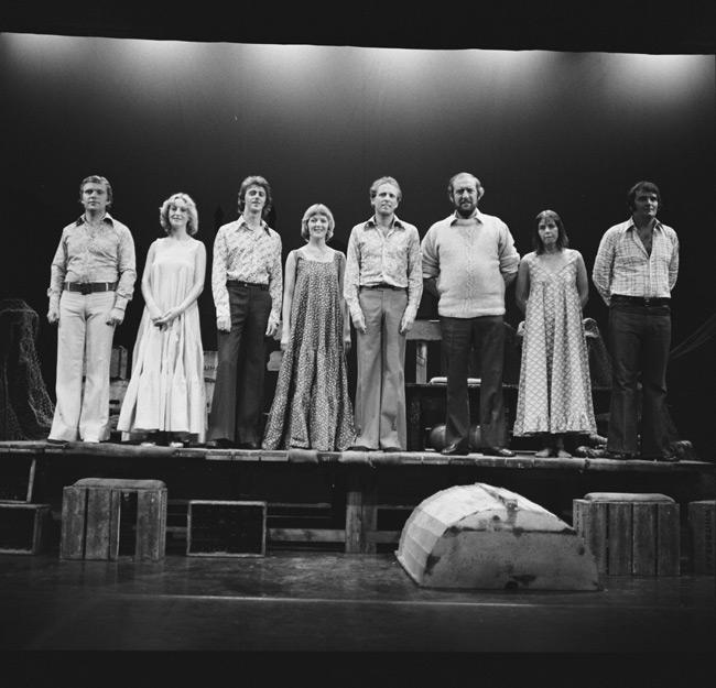 Cast of a play, possibly Cwmni Theatr Cymru