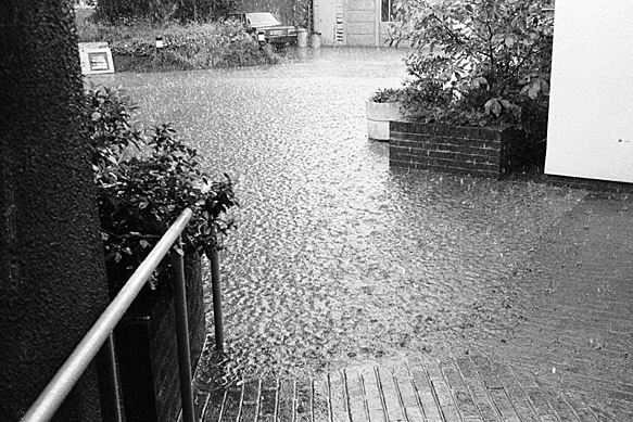 Floods after a storm at Lampeter