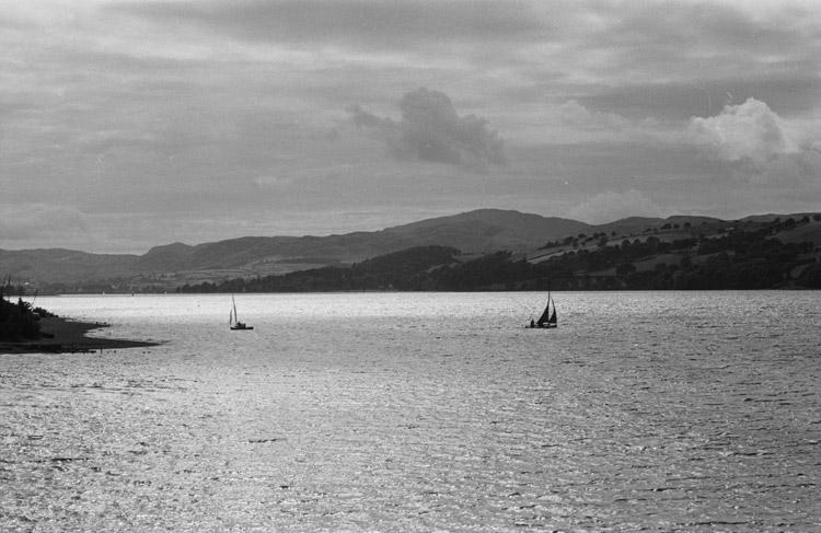 Boating on a lake, possibly Llyn Tegid