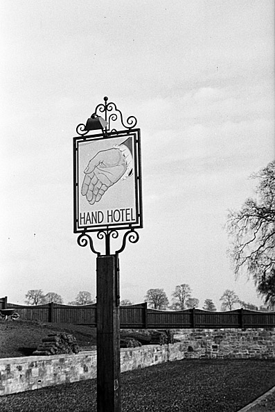 Signpost for the Hand Hotel, possibly at Chirk