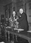 [The Mayor of Shrewsbury accepting a trophy from Shropshire Horticultural Society]
