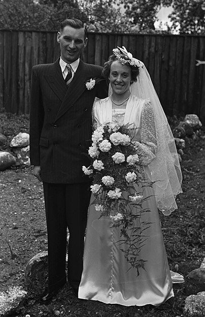 [Wedding of Audrey Roberts, Oswestry and Sergeant Major G T Sharp at Salop Road Church, Oswestry]